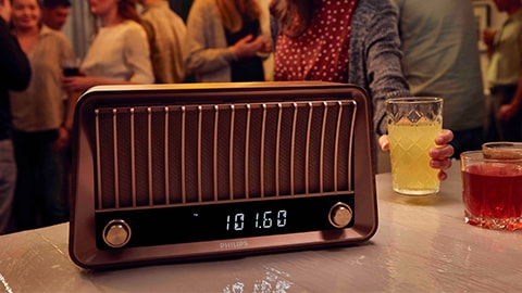 Altavoces Bluetooth vintage de diseño retro con radio de Philips, TAVS700